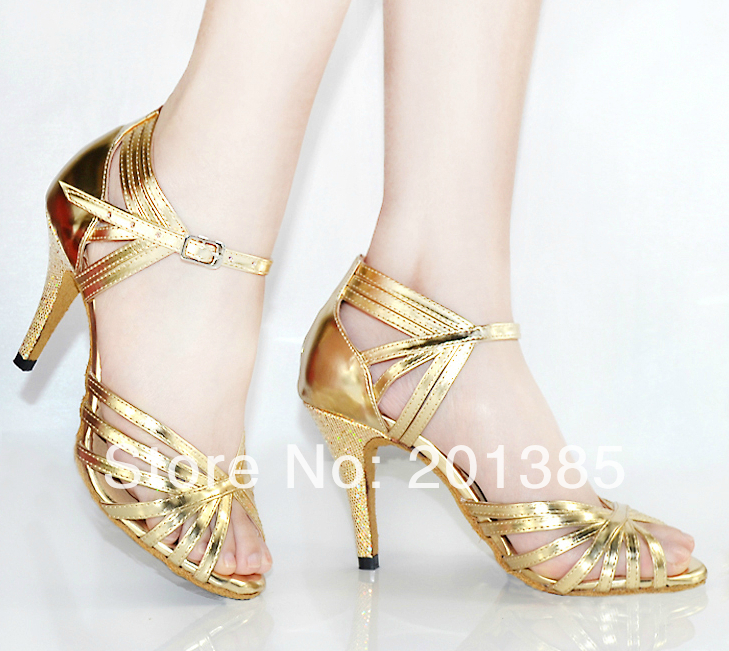 Women Dance Shoes Gold Leather Ballroom Shoes Dance Shoes Latin SALSA Bachata Dance Shoes Size 34-41