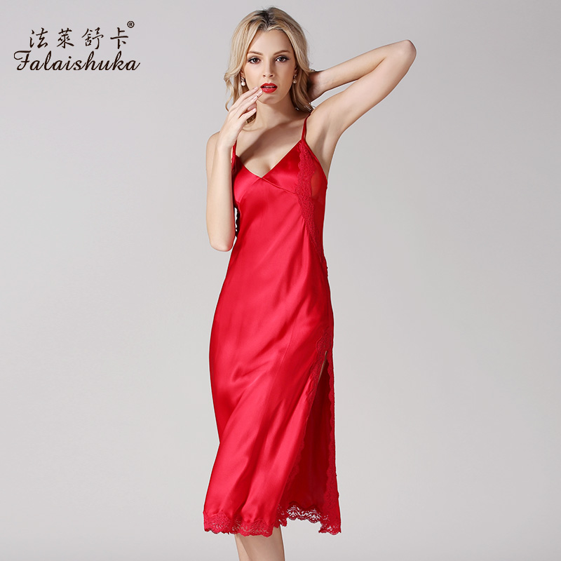 Sleepshirt Homewear 2019 100% silk spaghetti strap mid-calf   nightgowns  &   sleepshirts   lace embroidery sexy plus size   nightgown