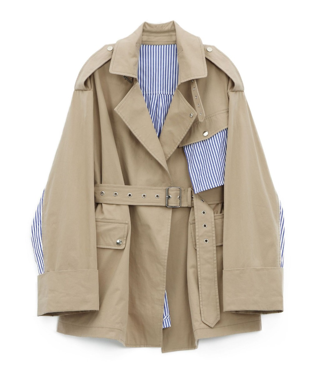 2019 female new spring and autumn Korean version BF style outerwear fashion loose lapel stripe stitching trench
