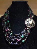 Bohemia Antique Multicolor Natural stone Necklace Multi layers Fashion Women Jewelry