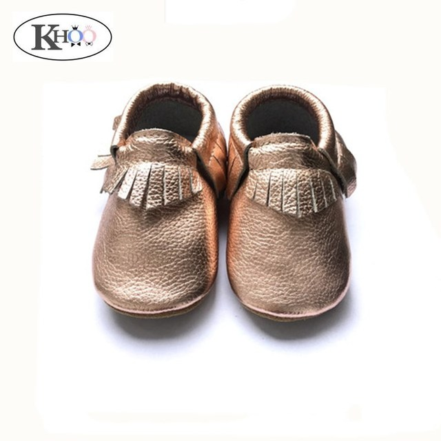 fcc03c85ac37 Kinghoo hard sole toddler moccasins rose gold genuine leather fringe baby  rubber sole shoes non-slip baby first walkers