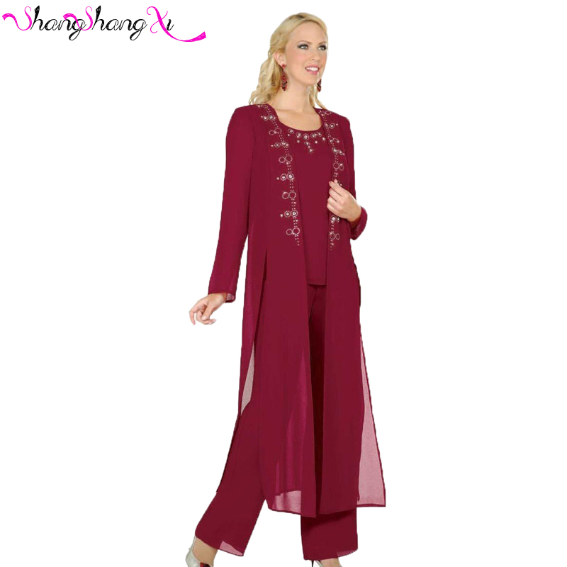 High Quality Elegant Three Piece Burgundy Mother Of The
