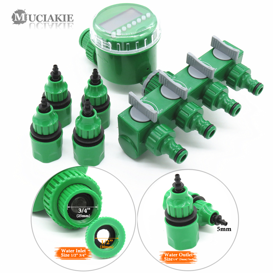 MUCIAKIE Water-Timer Splitter Hose Irrigation-Controller Garden with 1/2/4-way-hose Automatic title=