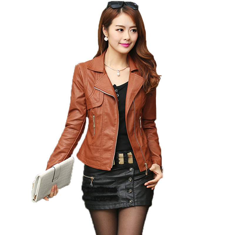 Spring And Autumn Fashion Women Jacket From Artificial Leather Thin Coat Femininos Plus 4XL Elegant Punk Round Neck New Jacket