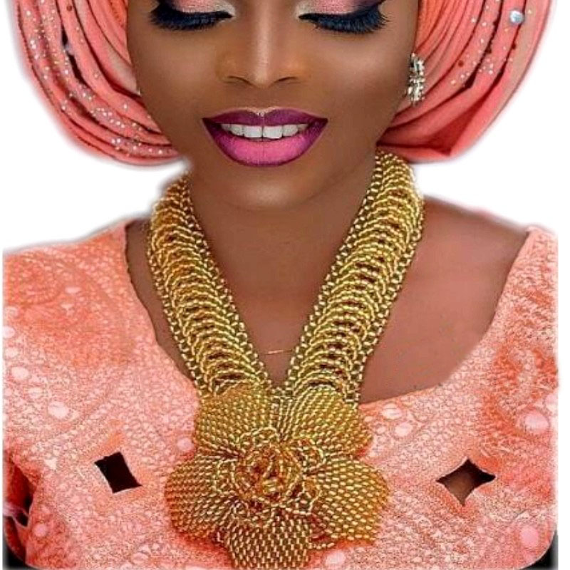 Fashion Dubai Gold Jewelry Braid Flower African Beads Set Free Shipping 2018 Indian Jewelry Sets For Women Bridal Necklace New