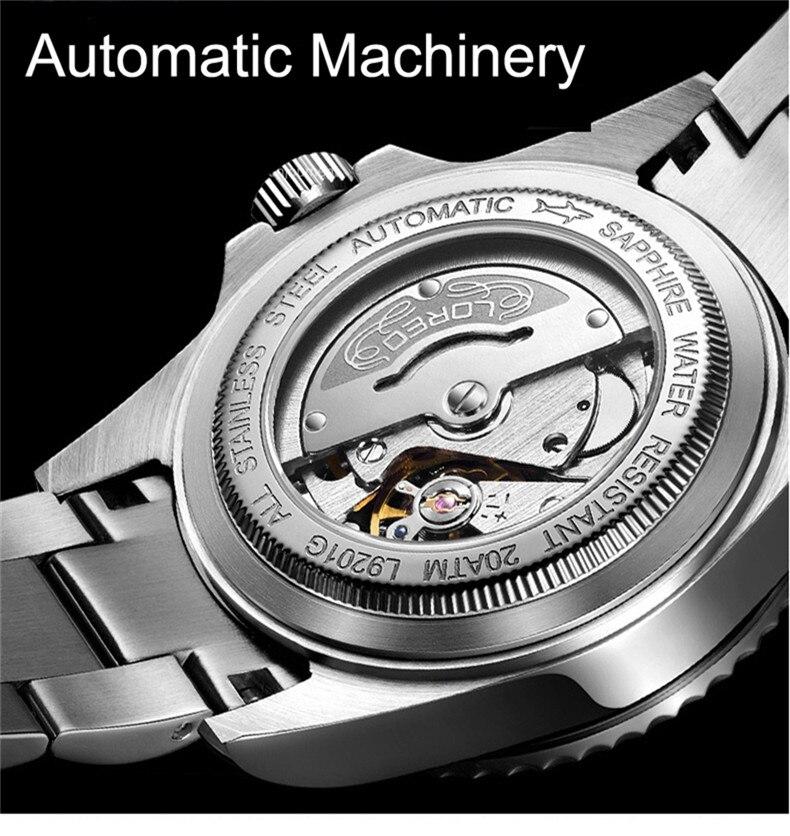 LOREO мужские деловые автоматические механические часы, мужские наручные часы, наручные часы из нержавеющей стали, мужские часы для дайвинга, ... - 5