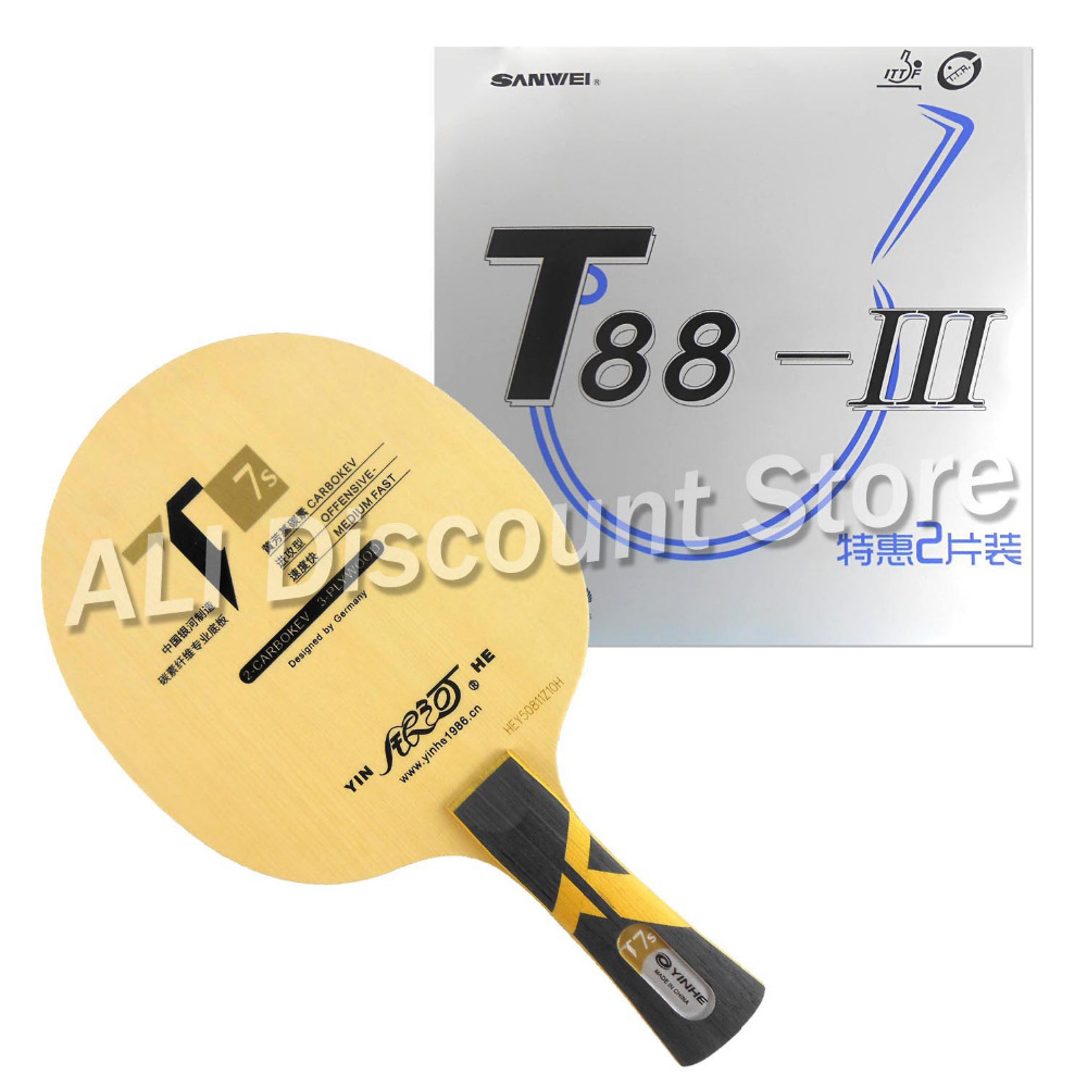 Galaxy YINHE T7s Blade with 2x Sanwei T88-III Rubbers for a Table Tennis Combo Racket LongShakehand FL galaxy yinhe emery paper racket ep 150 sandpaper table tennis paddle long shakehand st