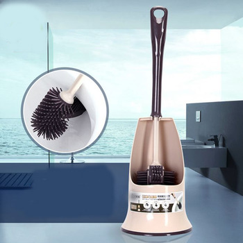 NEW Creative WC Brush Bathroom Toilet Scrub Brush Clean Holder With  Base Double Headed Silicone Toilet Clean Brush Tool Туалет
