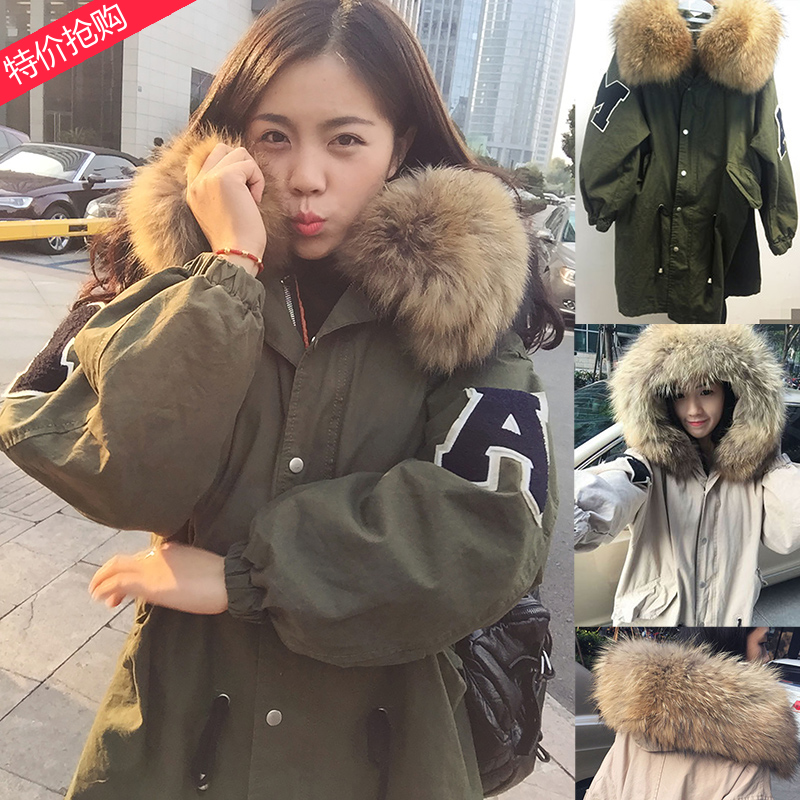 New 2016 Winter Coats Women Jackets Real Large Raccoon Fur Collar Thick Ladies Down  & Parkas Army Green Detachable Lining