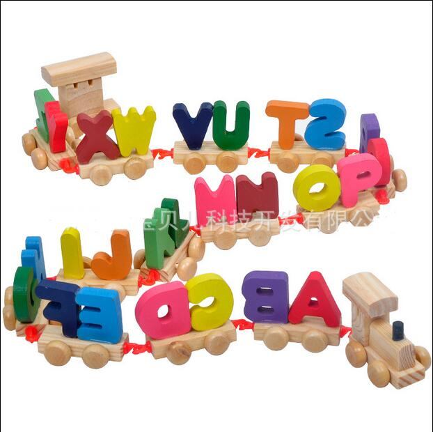 Candice Guo Wood Toy Montessori Early Development Educational Wooden Colorful Letter Train Baby Learning Birthday Gift 15pcs/set Toys & Hobbies