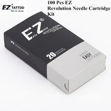 100 PCS EZ Revolution Tattoo Needle Cartridge Kits Round Liner for System Machine & Grips