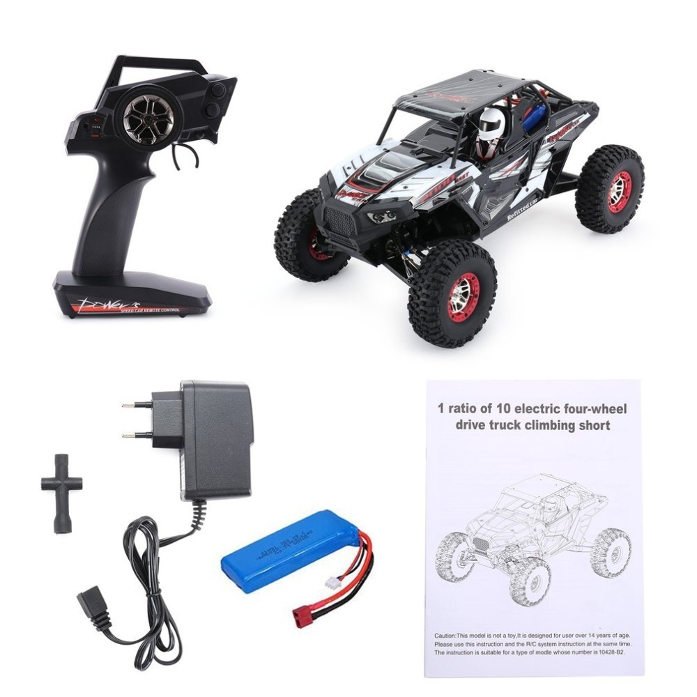 Wltoys 10428-B2 1/10 2.4G 4WD Electric Rock Climbing Crawler RC car Desert Truck Off-Road Buggy Vehicle with LED Light RTR waterproof design rc cars 1 12 waterproof rc crawler desert truck car rtr rough roads desert off road climbing car electric toys