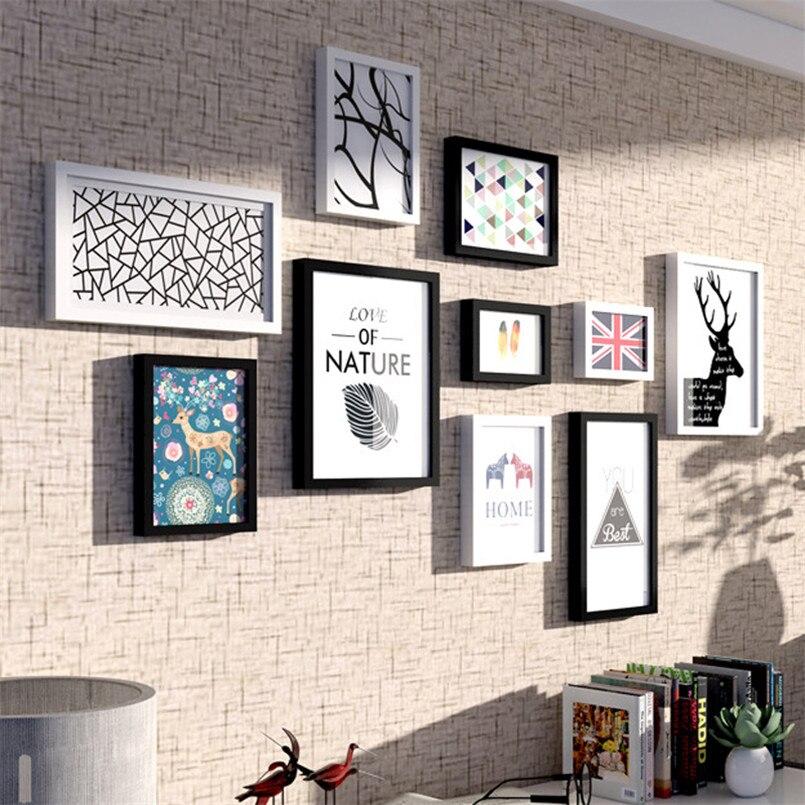 10 ピース/セット木製フォトフレームセット壁の装飾ピクチャーフレームアメリカのスタイルフレーム Diy 紙マウントフレーム Marcos デ · マデラ  グループ上の ホーム&ガーデン からの フレーム の中 1