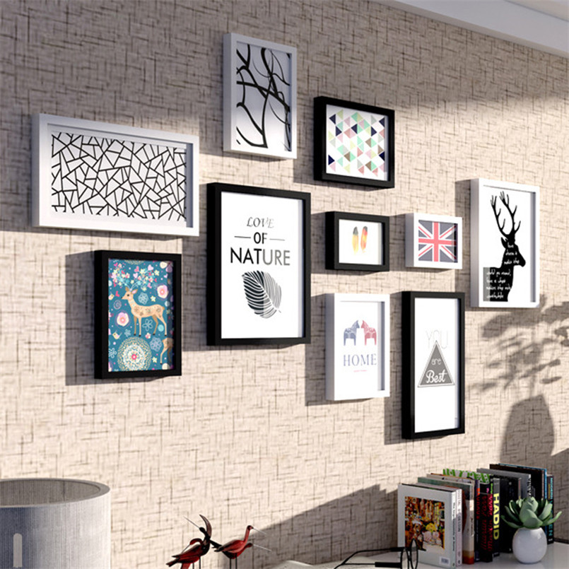 10 pièces/ensemble cadres Photo en bois ensemble décor mural cadres Photo Style américain multi-cadre papier pour bricolage cadre monté Marcos De Madera