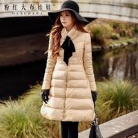 מעיל החורף של נשים ארוכות 2017 אופנה החורף חדשה מקורי נאטור לחם למטה מעיל רוכסן צווארון עמדת צווארון פרווה נשים ורוד בובת