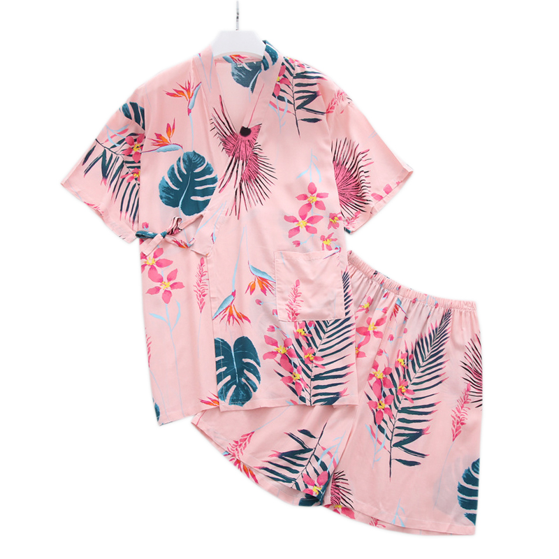Summer cool 100% rayon kimono robe women short   pajamas     sets   simple japanese fresh floral women homewear short sleeves sleepwear