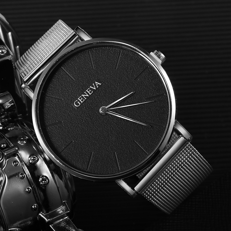 New Ultra-thin Wrist Watch Women Men Luxury Rose Gold Mesh Stainless Steel Watches Men's Women's Watches Female Male Clock Saati