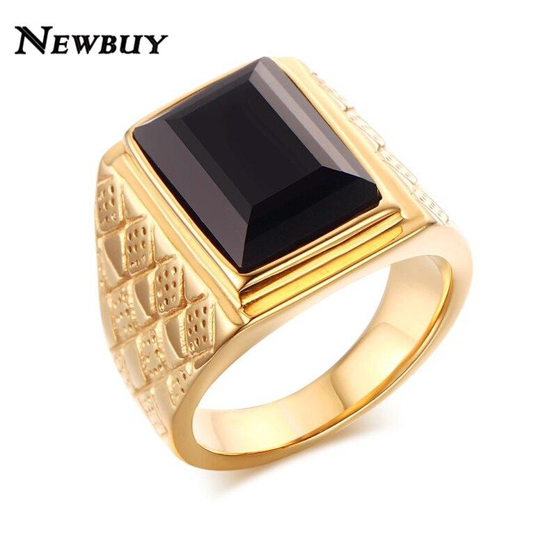 Wedding Ring On Chain Boy Or Girl: NEWBUY Brand Men Black Glass Stone Wedding Bands Rings