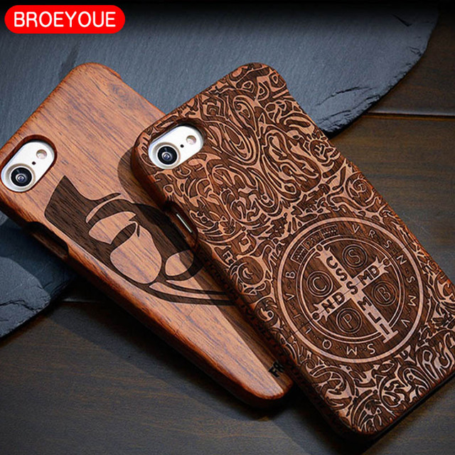 100% Natural Wood Carvings Case For iPhone X 6 6S 7 8 Plus 5 5S  Protective Phone Covers