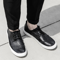 2017 Mens Genuine Leather Shoes High Quality Mens Italian Leather Shoe New Brand Fashion Black Comfortable