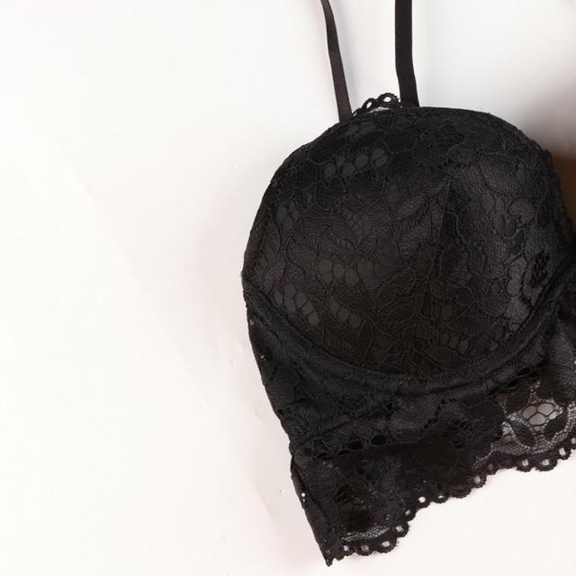 Missomo 2017 New Fashion Women Black Sexy Push Up Lace Spaghetti Adjustable Strap Bralettes Wire Support Underwear Soft Bras