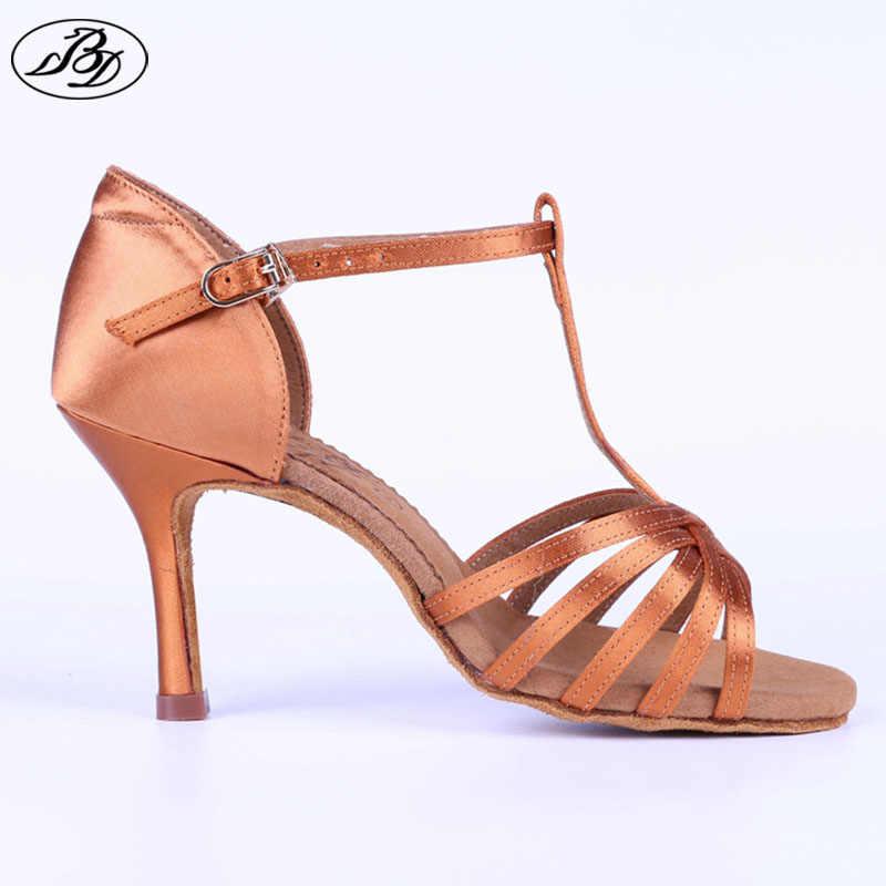 1d95602b0d Women Latin Dance Shoes BD 217 Dark Tan Satin Napper Leather Sole Slim High  Heel Ladies
