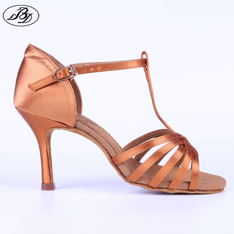Women Latin Dance Shoes BD217 Dark Tan Satin Napper Leather Sole Slim High Heel Ladies Ballroom Dance Sandal Dancesport Shoe