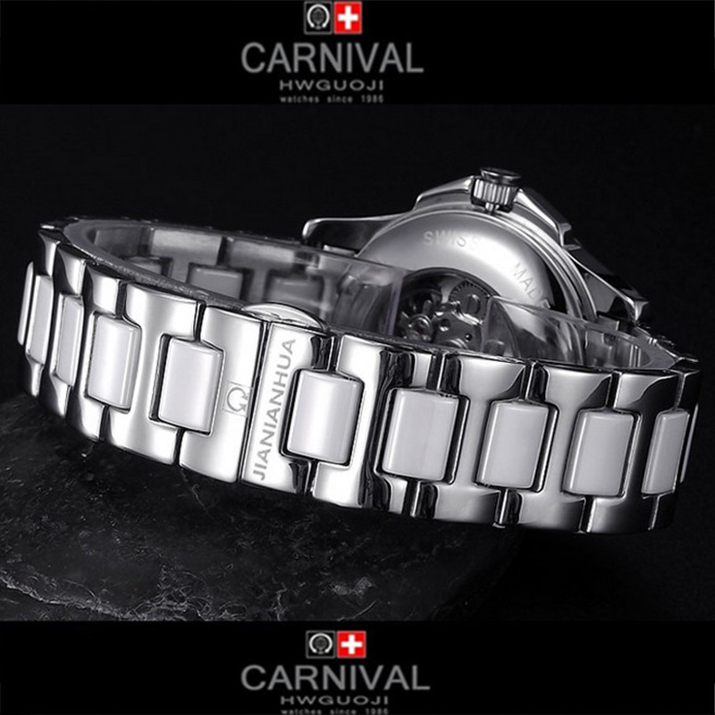 Carnival ceramic waterproof military automatic mechanical lovers watch white dress fashion luxury brand ladies watches relogio