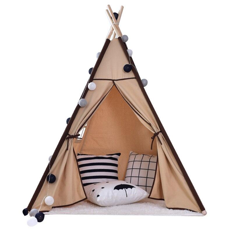 Indien grande toile Tipi enfants Tipi avec pompons gris jouer tente maison enfants Tipi Tee Pee tente