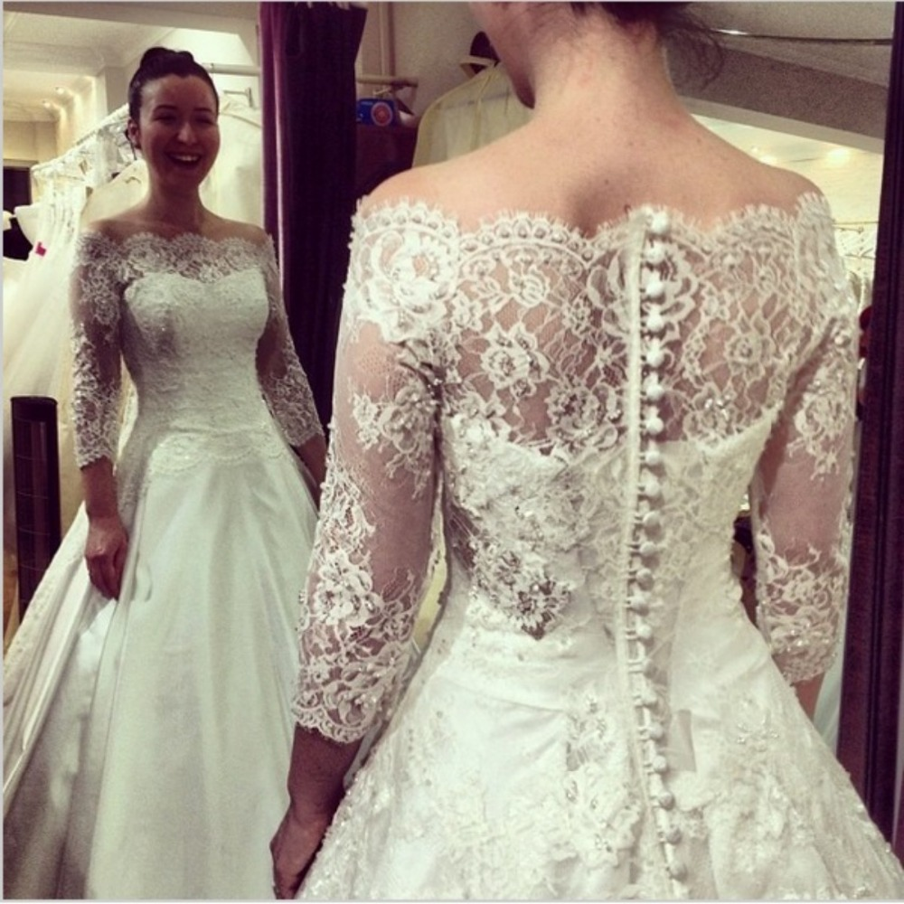 Robe Mariage Three Quarter Sleeve Boat Neck Lace Satin A Line Long ...