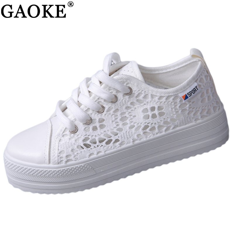 GAOKE Summer Women Shoes Casual Cutouts Lace Canvas Shoes Hollow Floral Breathable Platform Flat Shoe sapato feminino summer women shoes casual cutouts lace canvas shoes hollow floral breathable platform flat shoe sapato feminino lace sandals page 7