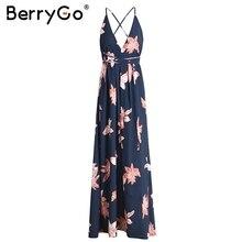 BerryGo Boho deep v neck backless long dress Chiffon split cross lace up  summer dress Sleeveless beach maxi dress vestidos