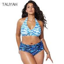 Blue wave bikini set 2019 plus size high waist sexy swimsuits hanging neck bandage swimwear womens big cup beach wear