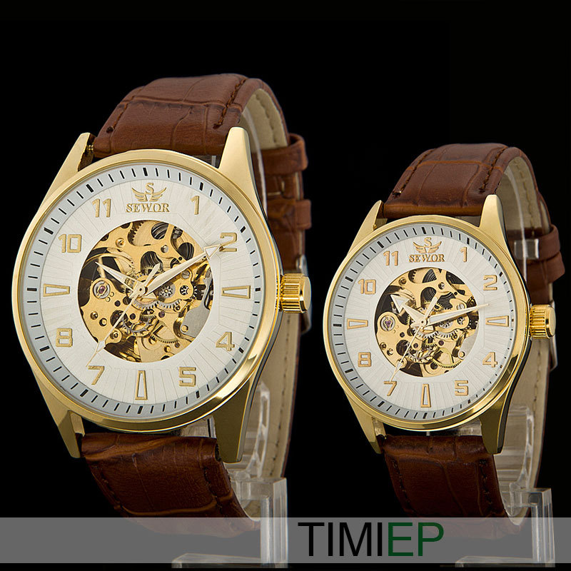 Gold men casual Analog couples watch Fashion Brown Leather Skeleton Mechanical Wrist Watch