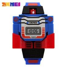 2016 de La Manera LED Dígitos Kids Niños Reloj Deportivo Relogio Relojes Relojes de Dibujos Animados Lindo Robot Transformación Juguetes Niños Reloj de Pulsera