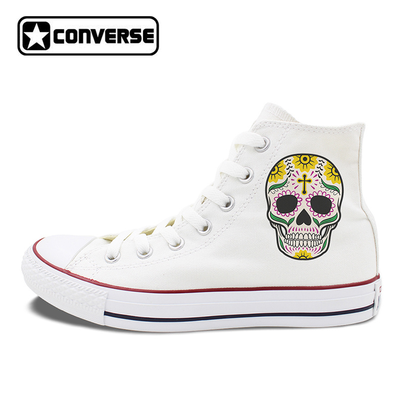 70b69a5b34d636 Men Women Converse All Star Skateboarding Shoes Design Colorful Mexican  Skulls Flowers Totem White Canvas Sneakers