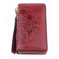 Luxurious 100% Genuine Oil Waxing Leather Flower Women Wallet 2018 Large Capacity Long Tassel Style Ladies Purses With Hand Rope