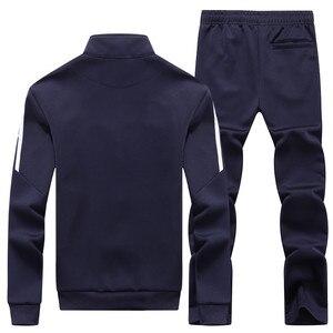 Image 2 - New Mens Set Spring Autumn Men Sportswear 2 Piece Set Sporting Suit Jacket+Pant Sweatsuit Male Tracksuit Asia Size L 4XL
