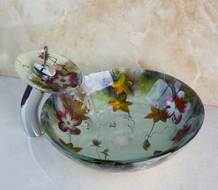 New Reasonable Price Beautiful Flower Waterfall Bathroom Sink Vessel Faucet With Drainer Glass Basin Sink Set. Popular Bathroom Sink Prices Buy Cheap Bathroom Sink Prices lots