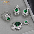 8 Colors Fashion Women Choice Simulated Emerald Big Pear Drop Necklace And Earrings CZ Crystal Jewelry Set With Green Stone J171