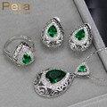 Mulheres 8 Cores Da Moda Escolha Simulado Esmeralda Grande Queda de Pêra colar E Brincos de Cristal CZ Conjunto de Jóias Com Pedra Verde J171