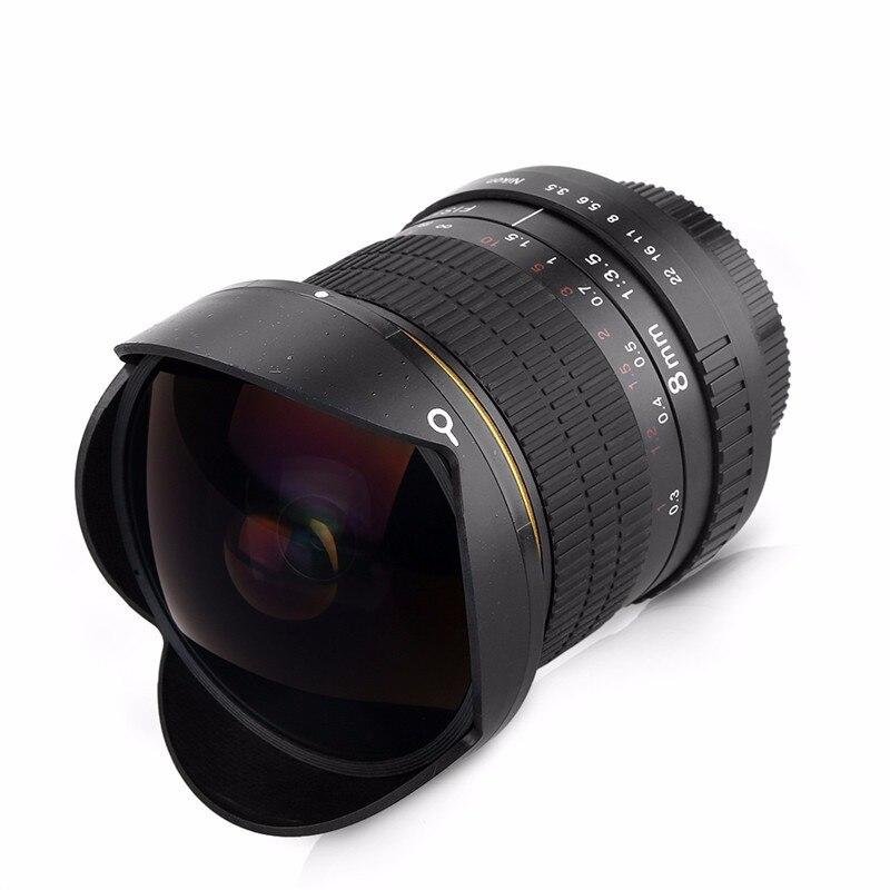 Objectif Fisheye Ultra grand Angle 8mm F/3.5 pour cadre APS-C Canon 1200D 760D 750D 700D pour appareil photo reflex numérique Nikon D800 D3200 D5200 D7200