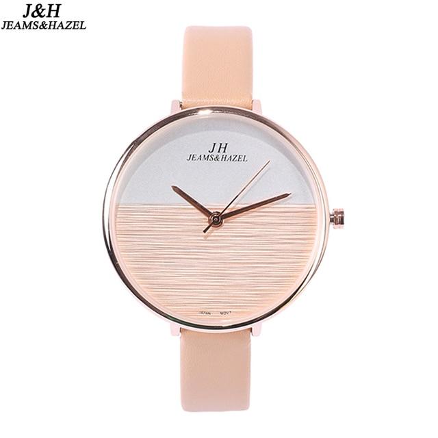 Brand Luxury Women Watches Red Leather Rose Gold Casual Quartz Watch Ladies Diamonds Clock Womens Dress Watch Relogi JEAMS&HAZEL
