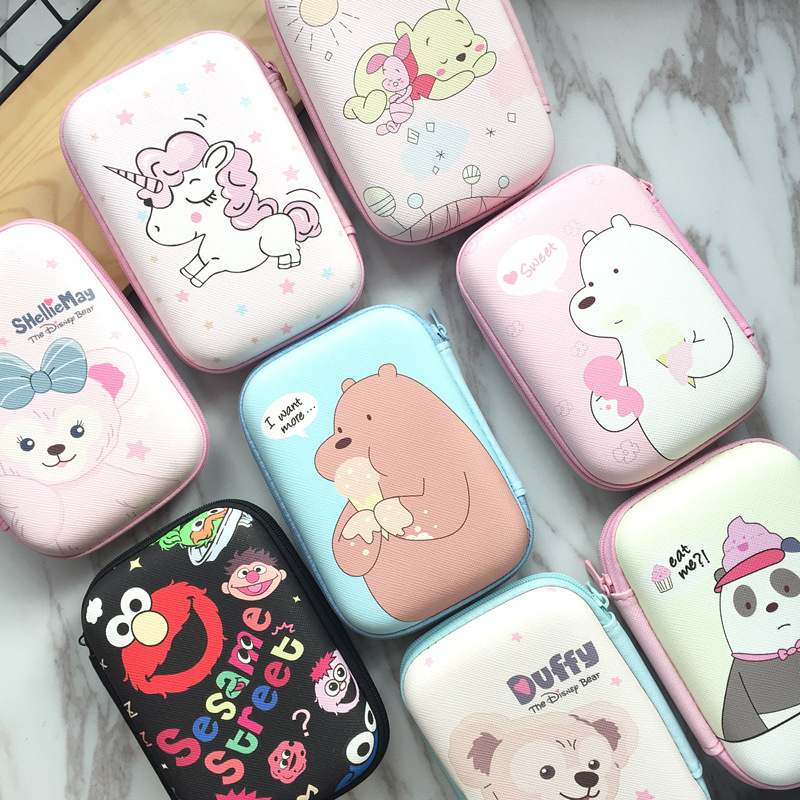 Cute Cartoon Leather Travel Storage Case For Apple Airpods Accessories Headphone Cable Earphone Protective Cover Anti-lost Bag