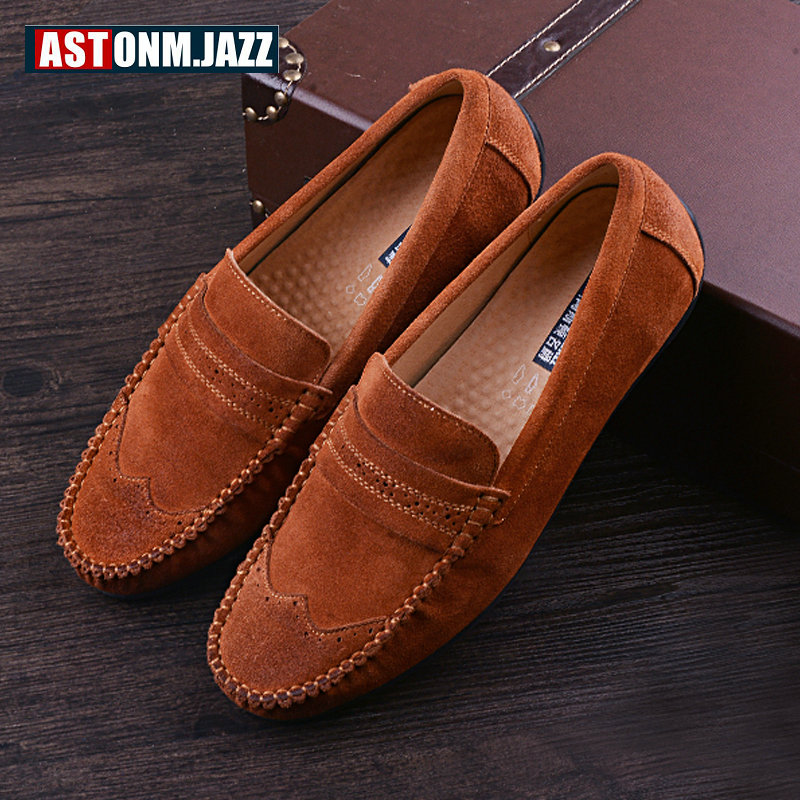 Branded Men's Leather Loafers Leisure Casual Suede Leather Shoes For Men Business Slip-on Boat Shoes Moccasins Penny Loafers men s crocodile emboss leather penny loafers slip on boat shoes breathable driving shoes business casual velet loafers shoes men