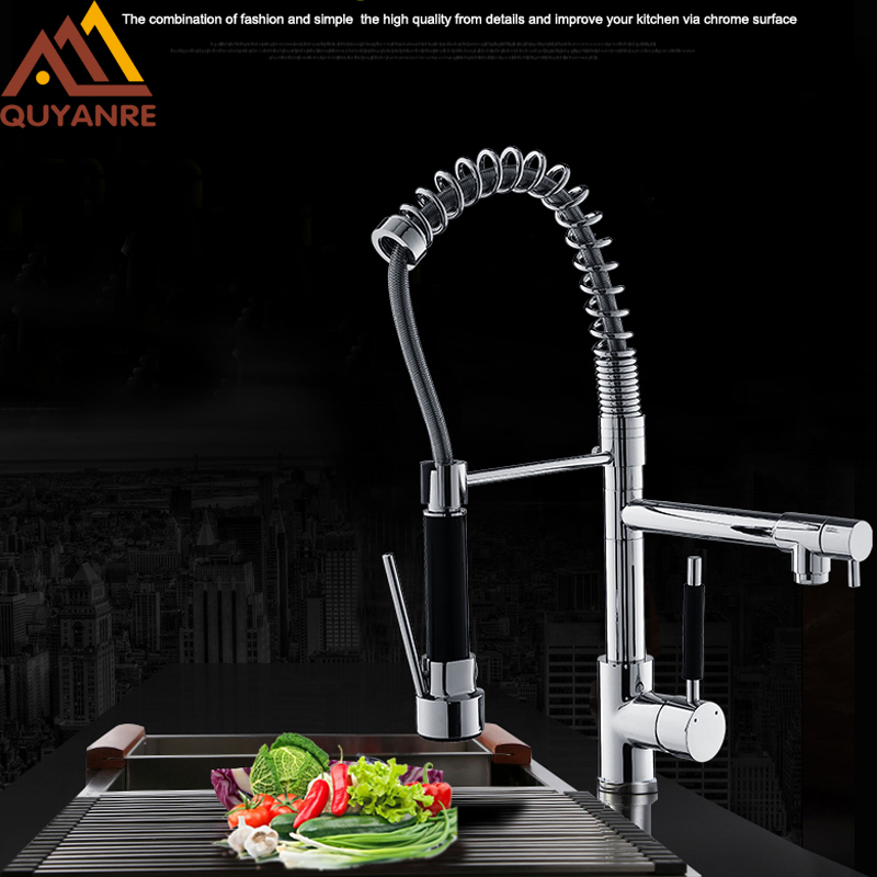 купить Quyanre Chrome Spring Kitchen Sink Faucet With Pull out Sprayer 360 Rotation Single Handle Mixer Tap Kitchen Spring Faucet по цене 2639.57 рублей