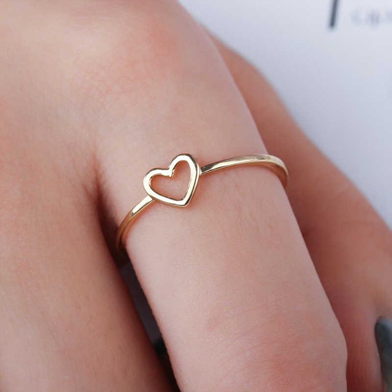 Minimalist ทองเงินโลหะกลวงหัวใจรัก charm ขนาด 6 7 8 9 10 แหวนของขวัญเธอวางเครื่องประดับนิ้วมือ