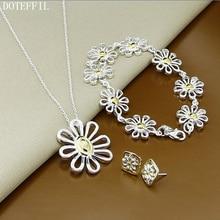 Flower 925 Silver Necklace Bracelet Earrings Woman Charm Jewelry High Quality Silver Fashion Necklace Bracelet Earrings S155 fashion women s matte 108 beads bracelet or necklace high quality charm new design bracelet