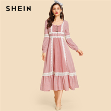 SHEIN Red Contrast Lace Up Front Lace Insert Striped Ruffle Hem Dress Autumn Women Long Sleeve Fit and Flare Solid Dresses