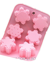 Silicone cake mold six different shapes of snowflakes cold soap
